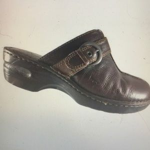 """BOC BORN"" Brown Leather Clogs/Mules."
